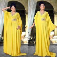 amarelo abaya venda por atacado-Árabe Oriente Médio Abaya Vestidos de Noite Frisado Pescoço com Cauda Plissados Amarelo Chiffon Mangas Compridas Partido Formal Evening Prom Vestidos