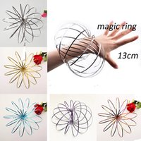 Wholesale Interactive Retail - Toroflux Flow Rings 5 INCH Stainless Steel Kinetic Spring Metal SUS 304 Toroflux Magic Flow Ring 3D Sculpture Ring Interactive Toys For Kids