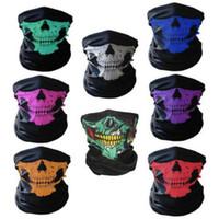 Wholesale Head Safe - Multi Function Magic Scarf Polyester Fiber Skull Head Pattern Kerchief Safe Washable Sports Mask For Halloween Props 1 1lk B