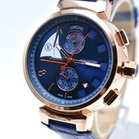 Wholesale Military Clock Time - Wholesale New Style AAA Luxury Brand Leather Fashion Men Military Watch Chronograph Male Clock Replicas Swiss Quartz Men Watch Sport horloge