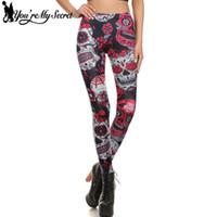 meias leggings venda por atacado-[Você é Meu Segredo] Crânio Vermelho Flores Leggings Sexy Rose 3D Digital Impresso Mulheres Leggins de Fitness Macio Magro Mujer Calças de treino