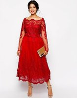 Wholesale size 28w special occasion dresses for sale - Red Lace Plus Size Evening Dresses Square Neck Long Sleeve Tea Length Party Prom Dress Evening Gown For Special Occasion