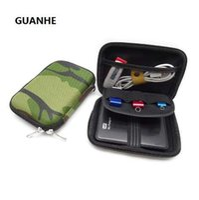 güç bankası yeşil toptan satış-GUANHE Askeri yeşil Taşıma çantası Kapak için 2.5 inç Güç Bankası USB harici WD seagate HDD Sabit Disk Sürücüsü Çanta Kılıf Korumak