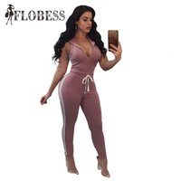 tracksuit jumpsuits Australia - FLOBESS Fashion Striped Jumpsuits 2018 Women Sexy V Neck Sleeveless Hooded Tracksuit Bodycon Casual Fitness Rompers