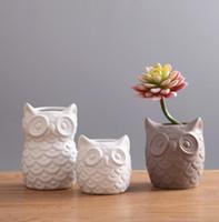 baykuş oda dekoru toptan satış-İskandinav beyaz coruja ceramica baykuş vazo ev dekor Baykuş pot çiçek vazo el sanatları odası dekorasyon süsler porselen hayvan heykelcik