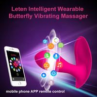 bluetooth seks vibratörü toptan satış-Leten Bluetooth Bağlayın Akıllı App Uzaktan Kumanda Giyilebilir Kelebek Vibratör G-spot Klitoral Vibratör kadınlar Için Seks Oyuncakları