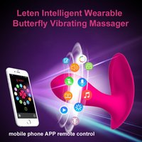 mariposas de control remoto al por mayor-Leten Bluetooth Conectar Aplicación Inteligente Control Remoto Wearable Mariposa Vibrador G-Spot Clítoris Vibrador Juguetes Sexuales Para mujeres