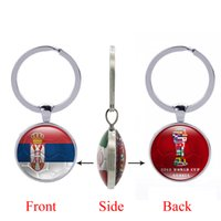 Wholesale printed bottle openers - 2018 FIFA World Cup Russia-Republic of Serbia National Flag Football Pattern Double Sides Photo Printing Bottle Cap Opener Key Chain