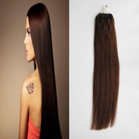 enlaces de soporte al por mayor-100G Straight Loop Micro Ring Hair 100% Human Micro Bead Links Machine Made Remy Hair Extension 1 g / Stand Micro Link Extensiones de cabello humano