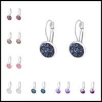 Wholesale handmade earrings designs - Handmade 16 Designs 12mm Druzy Silver Small Studs Sequins Fish Scales Resin Earrings Minimalist Gemstone Jewelry