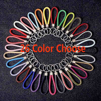 Wholesale valentines day gifts ring chain online - Newest Leather Rope Key Chain Car Pendant Weave Key Ring Men And Women Key Chain Valentine Day Gifts HH7