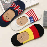 Wholesale invisible socks for men - Wholesale- Men's Fashion National flag Cotton Sock slippers For Male Summer Silicone Non-slip Invisible Boat Socks 10pcs=5pairs lot