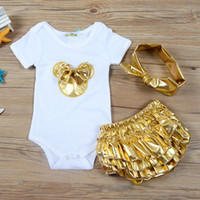 Wholesale Baby Bloomers Headbands - 2018 Baby Girl Clothes 3pcs Clothing Sets Cotton Baby Rompers Golden Bloomers Shorts Headband Newborn Clothes Baby Outfits Toddler Kids
