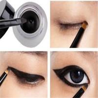 Wholesale Eye Shadow Gels - Pro Waterproof Eye Liner Eyeliner Shadow Gel Makeup Cosmetic + Brush Black TIAU