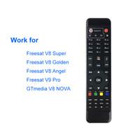 dvb tv tuneri toptan satış-Dijital Uydu Alıcısı FreeSat V8 Süper V8 için uzaktan Kumanda Altın DVB-S2 DVB-T2 DVB-C Kablo TV Tuner Ücretsiz oturdu Kutu