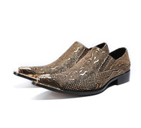 zapatos de cocodrilo hombres al por mayor-2018 Nuevo Estilo de Cuero Genuino Tacones Altos Zapatos de Aligátor Para Hombres mocasines de oficina metálico punta estrecha boda partido oxford zapato G175