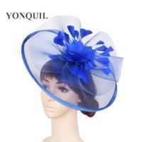saç tokaları büyük çiçekler toptan satış-2017 moda tüy çiçek fascinator şapka saç klipleri üzerinde parti büyük şapka kabarık şapkalar kilise düğün saç aksesuarları SYF110
