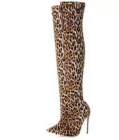 botas hasta la rodilla con estampado de leopardo al por mayor-2018 mujeres sexy botas botas de leopardo delgadas talón sobre la rodilla botas altas zapatos de fiesta de las señoras de la moda botines de impresión de leopardo de las mujeres