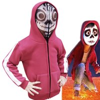 Wholesale hoodies coco - 2018 New Children Coco Hoodie Jacket Autumn Winter Outwear 3D Cartoon Coco Miguel Maroon Baby Hoodies Coat Cosplay Top Clothes for Children