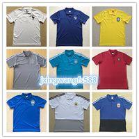 Wholesale polo boys - 2018 World Cup France Soccer Jerseys polo shirt 18 19 Argentina germany Spain Colombia Short Sleeve Football Polo adult Sport Training shirt