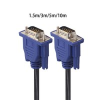 Wholesale 15 pin vga resale online - 1 m VGA Pin Male To Male Extension Cable For PC Laptop Projector HDTV