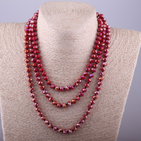 Wholesale Long Tribal Jewelry Necklace - whole saleFashion Bohemian Tribal Long Jewelry Red Crystal knotted long Halsband 5X8 Glass Crystal Necklace