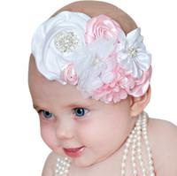 ingrosso fiore di raso della fasce del merletto del bambino-Fasce per capelli Big Flower bow girls Chiffon Satin Accessori per capelli per bambine bimba Elastic Lace Strass Pearl Fasce Headwear KHA561