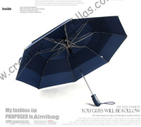 Wholesale Blue Hex - (6pcs lot)colour optional 112cm diameter visible double layer two fold auto open golf umbrella hex-angles 70T steel shaft,rubber