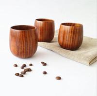 café de chá venda por atacado-Japão estilo De Madeira De Chá De Vidro Copo de 5 oz Taças De Vinho De Madeira Naturais 150 ml De Madeira Coffe Canecas de Suco de Cerveja Copo de Leite