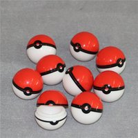 Wholesale Silicone Gel Ball - New Arrival Pokeball Silicone Case Food Grade Wax Container Jars Gel Ball Shaped Storage Box Herbal Vaporizer Glass Bong Accessories