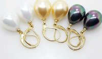 Wholesale Pink Mother Pearl Shell - 12X16mm South Sea Shell Pearl Drop Gold Plated Earrings Color Optional