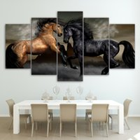 Wholesale horse wall paint modern - Modern Painting Print On Canvas 5 Panel Black And Brown Horse Art Poster Wall Modular Pictures Home Decor For Living Room