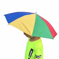 rosa kinder regenschirm großhandel-Regenbogen-Regenschirm-Hut-Regenschirm-tragender Kopf-Hüte faltbarer Sonnenschutz-Regenschirm für das kampierende Fischen, das Festivals im Freien wandert