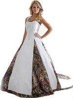 vestidos de novia sexy al por mayor-2018 nuevos vestidos de boda de Camo con apliques vestido de bola de camuflaje largo vestido de fiesta de boda vestidos de novia