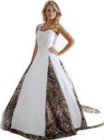 uzun elbise 18w toptan satış-Yeni Camo Gelinlik Ile Aplikler Balo Uzun Kamuflaj Düğün Parti Elbise Artı Boyutu Gelinlikler