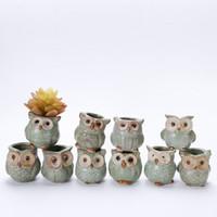 Wholesale lovely coats - Lovely Durable Garden Pot Breathable Animal Owl Ceramics Flowerpots Anti Wear Corrosion Resistant Mini Planters Portable HH7-859