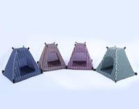 terrains de camping achat en gros de-Creative Portable Pliant Rayé Pet Tente Chien Maison Cage Chien Chat Tente Parc Chiot Chenil Facile Opération Fournitures de Plein Air