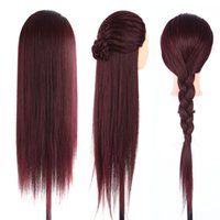 Wholesale hairdressing training head practice - 1Pc 60cm Female Mannequin Head Hair Hairdressing Practicing Training Model Mannequin Dummy Head Long Wig Hair With Clamp Holder