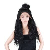Wholesale nice lace front wigs - Synthetic Hair Material and Half Hand Tied Wig Technique Long fashion pretty nice wave lace front wig