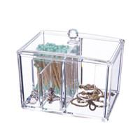 boîtes à bijoux en acrylique clair achat en gros de-Delicate Clear Acrylique De Mode Organisateur De Maquillage De Stockage De Bijoux Contenant Coton Pad / Swab Organisateur Cosmétique Boîte De Rangement Cas