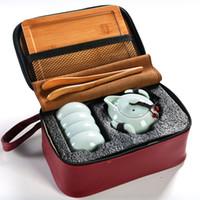 кунг-фу-чайник оптовых-Подарочные различные стили открытый портативный Кунг-Фу чайные наборы Celadon чайник 10x7.5 см Кубок 6x3cm