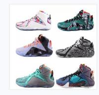 new product 1f9f8 aa9ad Zapatos deportivos de baloncesto LeBron 12 Elite de alta calidad para  hombres Qué zapatillas deportivas multicolor de oro blanco negro