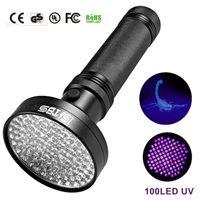 Wholesale portable rechargeable spotlight - 18W UV Black Light Flashlight 100 LED Best UV Light and Blacklight For Home & Hotel Inspection,Pet Urine & Stains LED spotlights