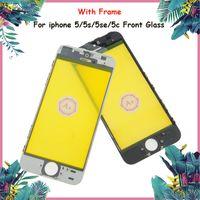 iphone 5c beyaz ön toptan satış-Söz A Sınıfı + + + Kalite Ön Cam Ekran iphone 5/5 S / 5c / 5se Çerçeve Ile Siyah Beyaz Renk iphone Cam Lens