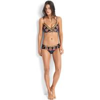 estilo étnico swimwear venda por atacado-Femme Bikini Estilo Étnico Camisola Ternos de Duas Peças Conjunto Dividido Corpo Chinlon Senhora Swimwear Swimsuit Mulher Sexy Impressão 22qy V