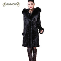 Wholesale Mink Fur Coat Hood - 2017 Winter Fur Coat Women Imitation Fox Fur Collar Slim Mink Velvet Long Hooded Warm Large Size Coat Female S-6XL WYT336