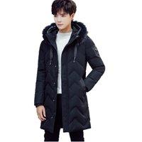 casacos jovens para homens venda por atacado-New Young Mens preto de manga comprida de algodão com capuz casaco 2018 homens inverno quente longo Parkas