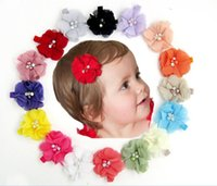 Wholesale artificial flowers chiffon pearl resale online - 300pcs baby Chiffon Flowers With Pearl Rhinestone Center Artificial Flower Fabric Flowers Children Hair clips R231