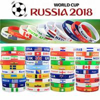 Wholesale Football Supplies - 2018 World Cup Sport Wristband Football Fans Silicone Elastic Wrist Band Bracelet Souvenir Wristband party favor