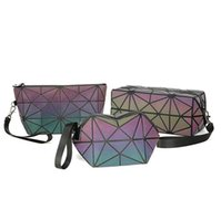 Wholesale Pillow Kits - Geometric Noctilucent Small Travel Cosmetic Bag Women Luminous Make Up Bag Toiletry Kit Travel Organizer Beauty Case LJJO4533